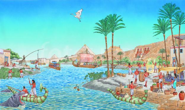 Ilustración del Nilo en el Antiguo Egipto