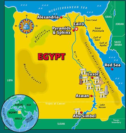 Mapa del Antiguo Egipto para niños